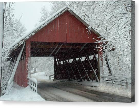 Covered Bridge In Snow Canvas Print