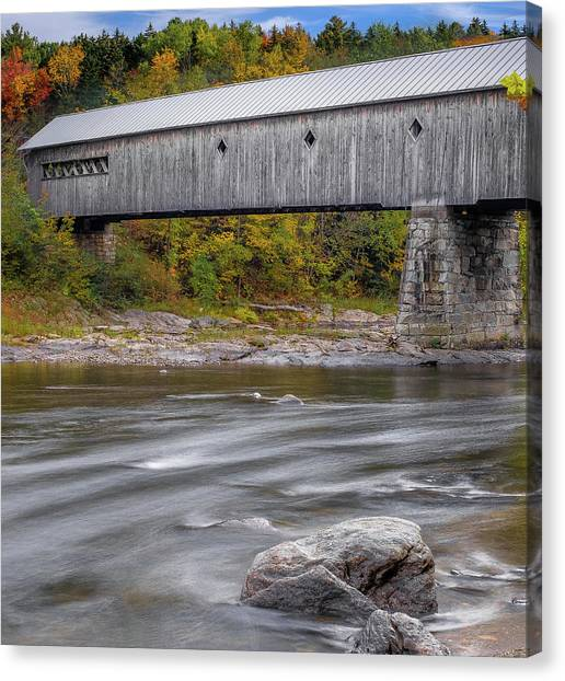 Canvas Print featuring the photograph Covered Bridge In Vermont With Fall Foliage by Robert Bellomy