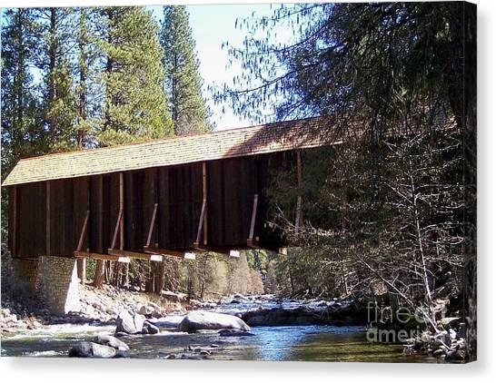 Covered Bridge Yosemite Canvas Print by Marjorie Imbeau