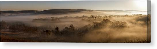 Prairie Sunrises Canvas Print - Covered In Fog by Scott Bean