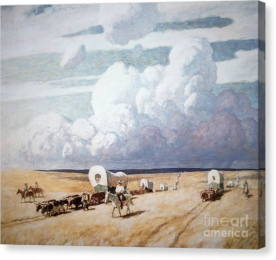 Trains Canvas Print - Covered Wagons Heading West by Newell Convers Wyeth