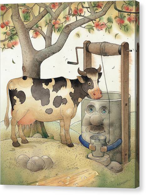 Cow Canvas Print - Cow And Well by Kestutis Kasparavicius