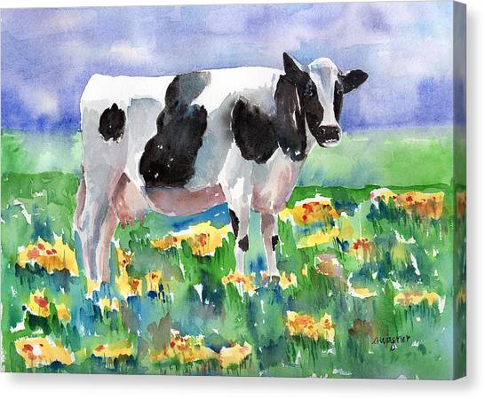 Cows Canvas Print - Cow In The Meadow by Arline Wagner