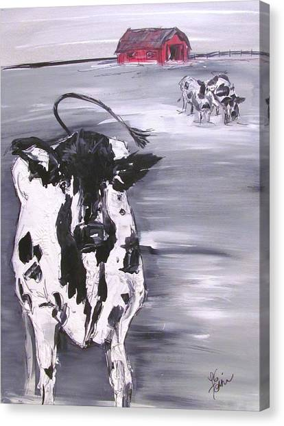 Cow In Winter Canvas Print