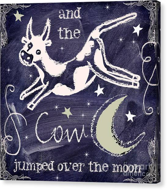 Cow Canvas Print - Cow Jumped Over The Moon Chalkboard Art by Mindy Sommers