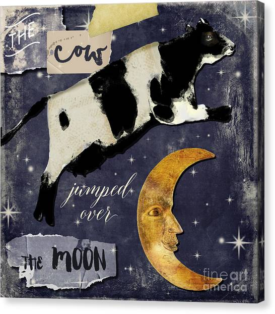 Nursery Rhyme Canvas Print - Cow Jumped Over The Moon by Mindy Sommers