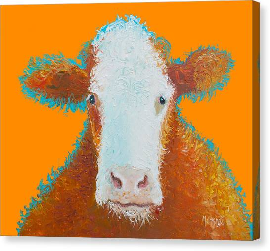 Country Kitchen Decor Canvas Print - Cow Painting - Brown Hereford by Jan Matson