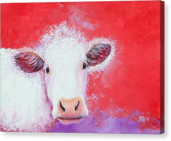 Cow Painting - Charolais Canvas Print