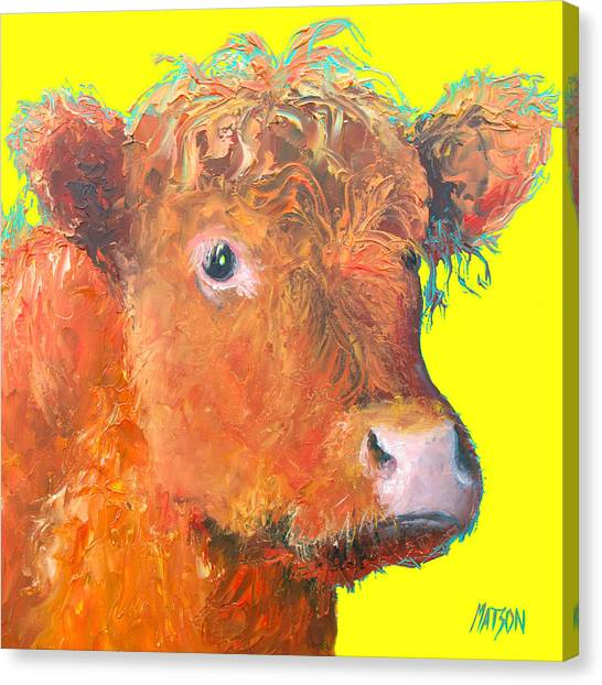Country Kitchen Decor Canvas Print - Cow Painting - Highland  by Jan Matson