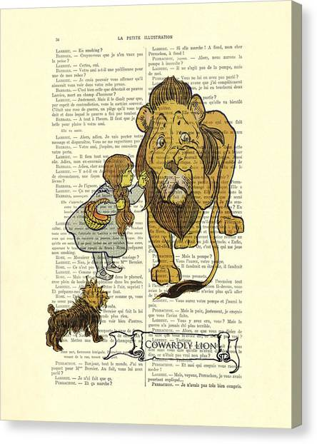 Oz Canvas Print - Cowardly Lion, The Wizard Of Oz Scene by Madame Memento