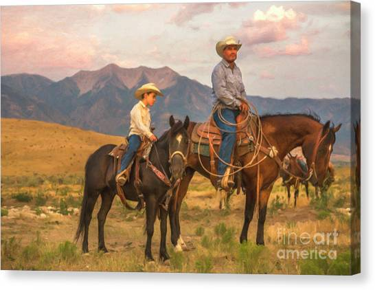 Father And Son Canvas Print - Cowboy And Son by Diane Diederich