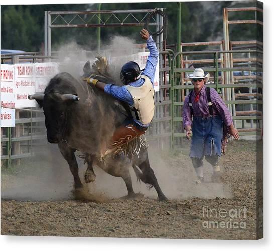 Bull Riding Canvas Print - Cowboy Art 1 by Bob Christopher