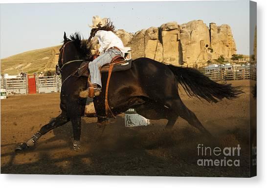 Barrel Racing Canvas Print - Cowboy Art 16 by Bob Christopher