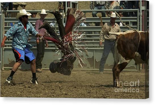 Bull Riding Canvas Print - Cowboy Art 6 by Bob Christopher