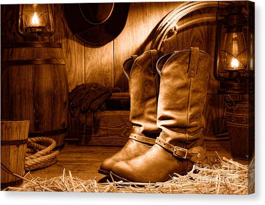 Cowboy Boots Canvas Print - Cowboy Boots In A Ranch Barn - Sepia by Olivier Le Queinec
