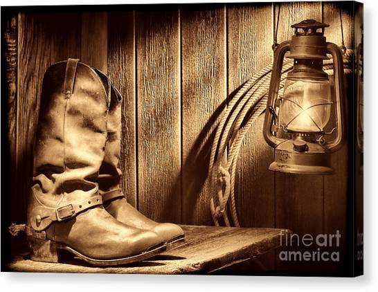 Cowboy Boots In Old Barn Canvas Print