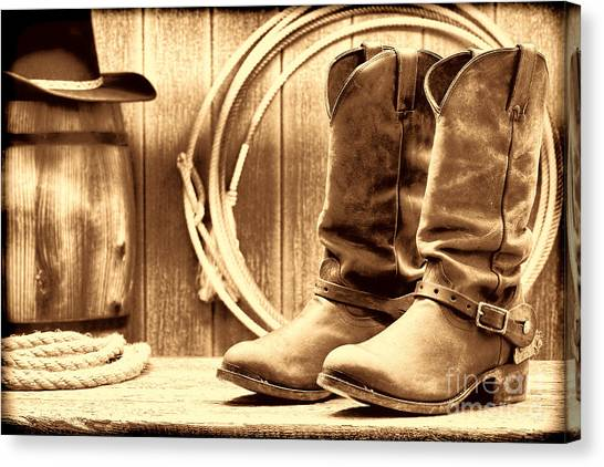 Cowboy Boots On The Deck Canvas Print