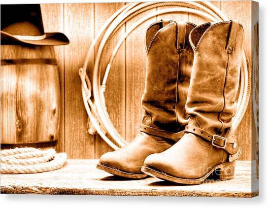Cowboy Boots Canvas Print - Cowboy Boots On The Deck - Sepia by Olivier Le Queinec