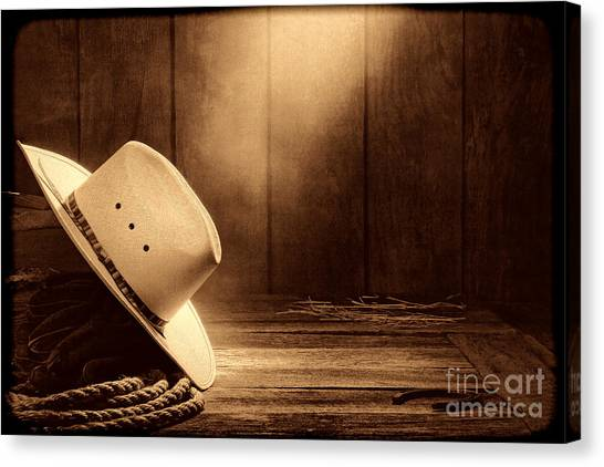 Cowboy Hat In The Old Barn Canvas Print
