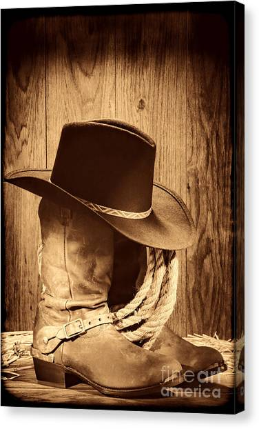 Cowboy Hat On Boots Canvas Print
