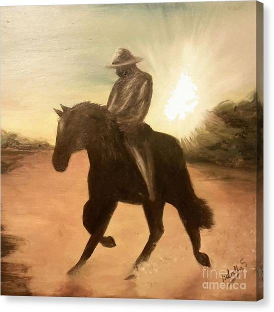 Cowboy On The Range Canvas Print