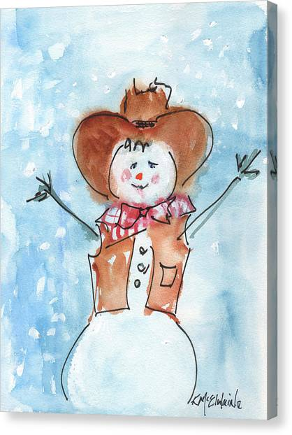 Cowboy Snowman Watercolor Painting By Kmcelwaine Canvas Print