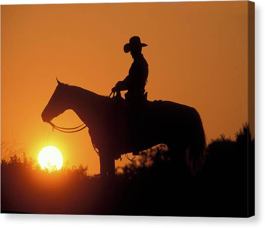 Canvas Print - Cowboy Sunset Silhouette by Shawn Hamilton