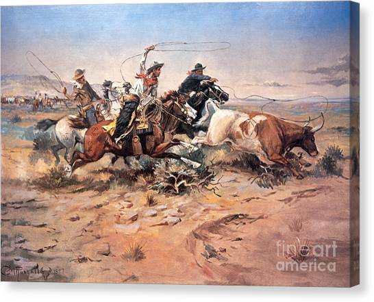 Texas A Canvas Print - Cowboys Roping A Steer by Charles Marion Russell