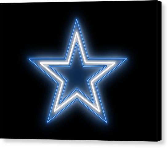 Contemporary Cowboy Art Canvas Print - Cowboys Star Neon Sign by Ricky Barnard
