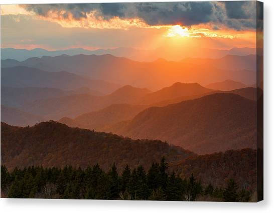 Pisgah National Forest Canvas Print - Cowee Sunset by Derek Thornton