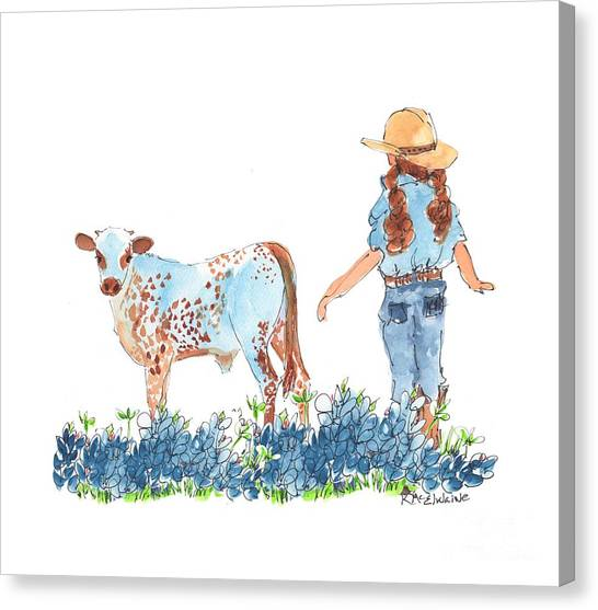 Cowgirl Calf In The Bluebonnets Pe005 Canvas Print