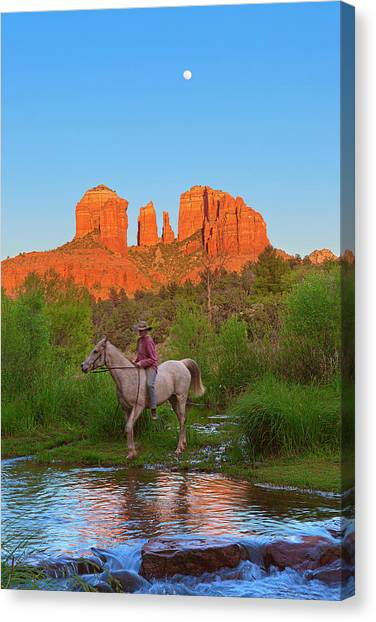 Bareback Canvas Print - Cowgirl Crossing by Brian Knott Photography