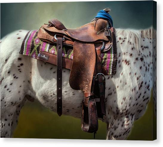 Barrel Racing Canvas Print - Cowgirl Saddle by David and Carol Kelly