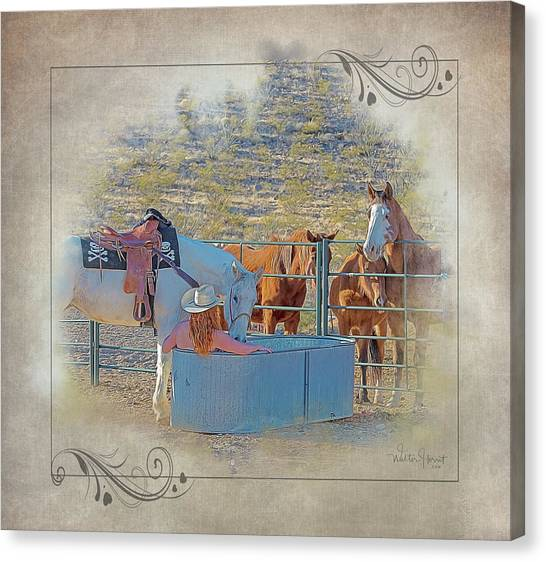 Cowgirl Spa 5p Of 6 Canvas Print