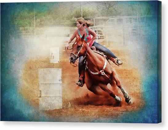 Barrel Racing Canvas Print - Cowgirl Trust by Toni Hopper
