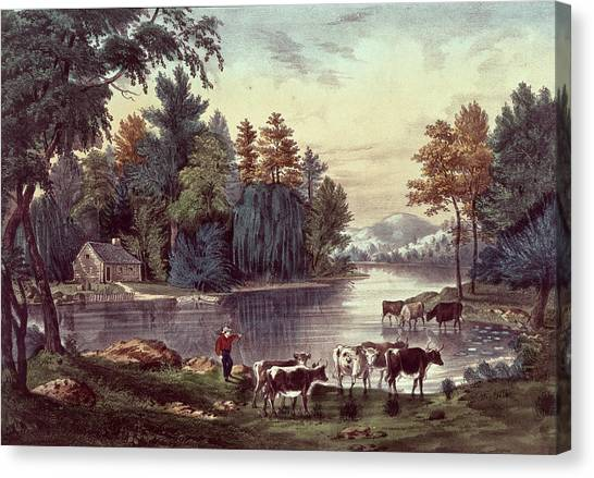 Currier And Ives Canvas Print - Cows On The Shore Of A Lake by Currier and Ives