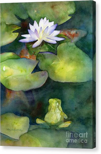 Lilies Canvas Print - Coy Koi by Amy Kirkpatrick