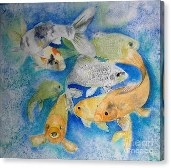 Coy Koi Canvas Print by Vi Mosley