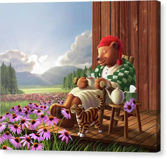 Tea Pot Canvas Print - Cozy Porch by Jerry LoFaro