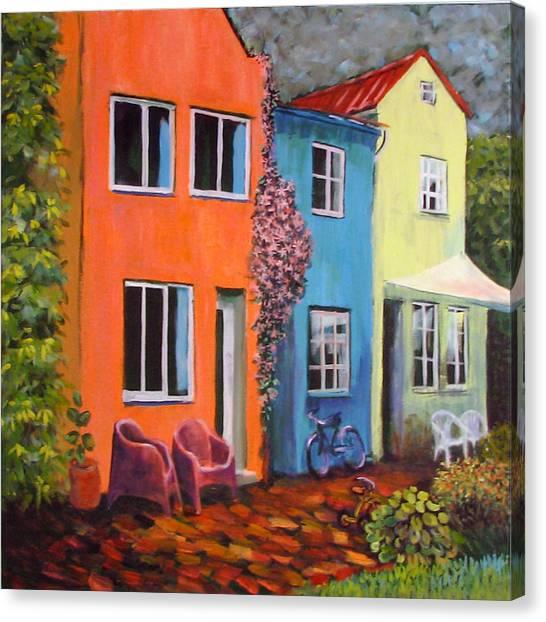 Cozy Street Canvas Print by Art Nomad Sandra  Hansen