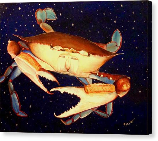 Crab In Space Canvas Print by Scott Plaster
