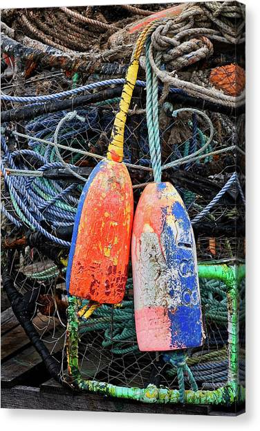 Crabbing Canvas Print - Crab Pots And Buoys by Carol Leigh