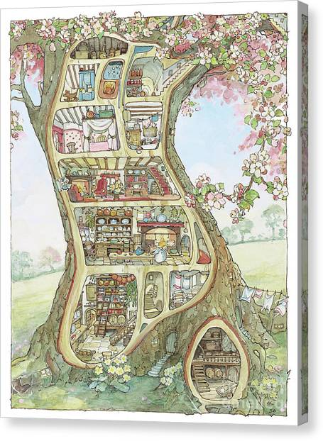 Tree Canvas Print - Crabapple Cottage by Brambly Hedge