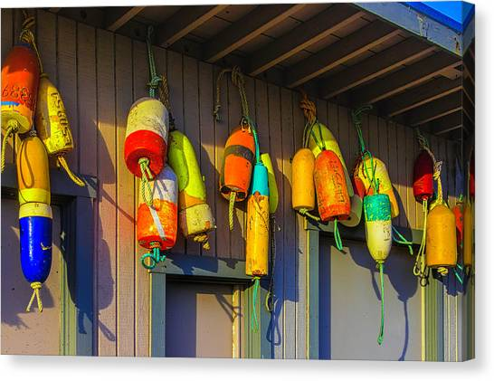 Crabbing Canvas Print - Crabbing Buoys by Garry Gay
