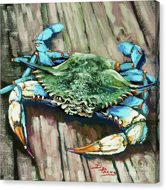 Crabs Canvas Print - Crabby Blue by Dianne Parks