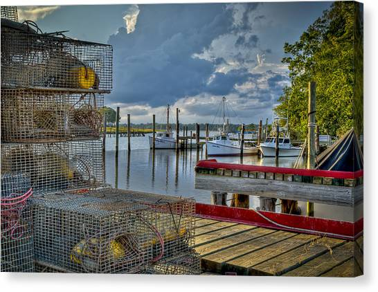 Canvas Print featuring the photograph Crabpots And Fishing Boats by Williams-Cairns Photography LLC