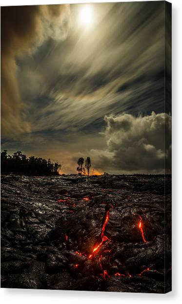 Lava Canvas Print - Crack In The Flow On Moon Lit Drive  by Sean King