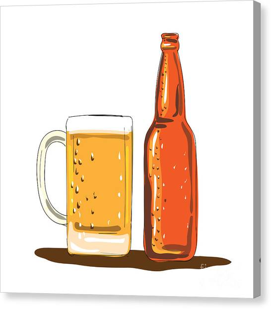 Craft Beer Canvas Print - Craft Beer Bottle And Mug Watercolor by Aloysius Patrimonio