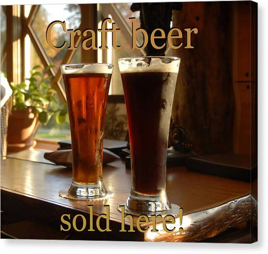 Craft Beer Canvas Print - Craft Beer Sold Here by David Lee Thompson