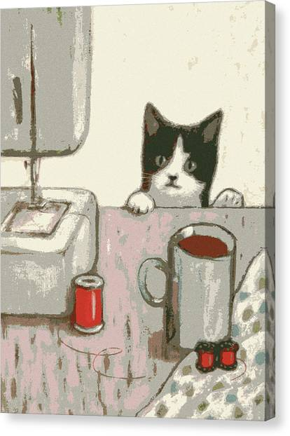 Crafty Cat #2 Canvas Print